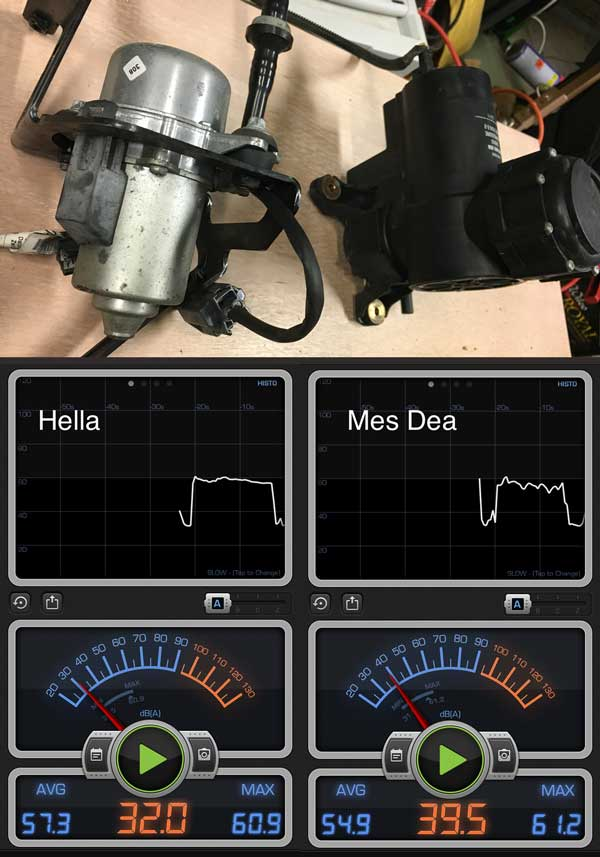 Vacuum power brakes Mes-Dea and Hella pump compared